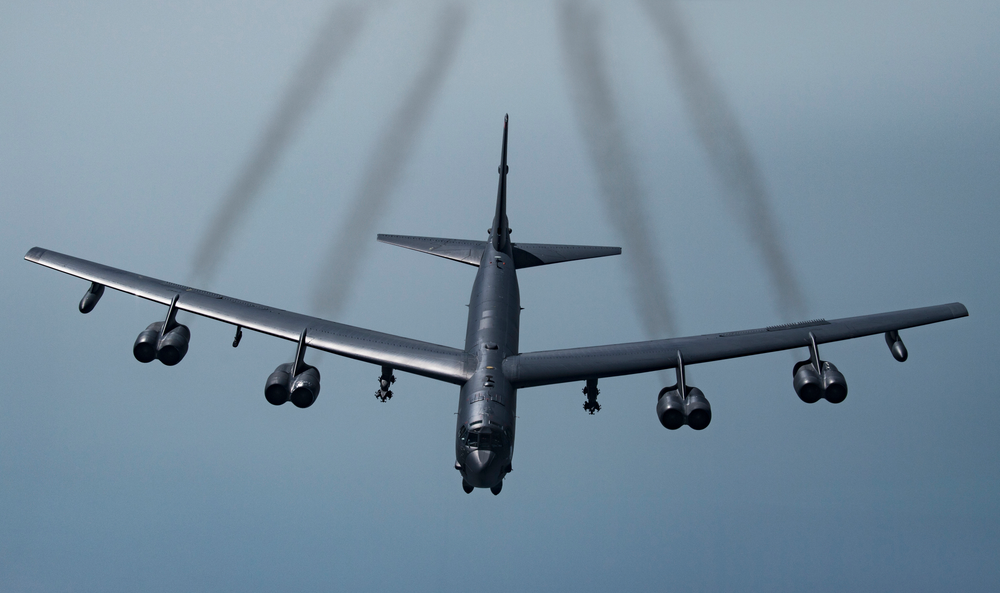 In this Tuesday, May 21, 2019 photo, provided by the U.S. Air Force, a U.S. B-52H Stratofortress, prepares to join up with Qatari Air Force Mirage 2000s and U.S. F-35A Lightning IIs to fly in formation over Southwest Asia to build military-to-military relationships, in an undisclosed location. The B-52H is part of the Bomber Task Force deployed to the U.S. Central Command area of responsibility to defend American forces and interests in the region. (Senior Airman Keifer Bowes/U.S. Air Force via AP)