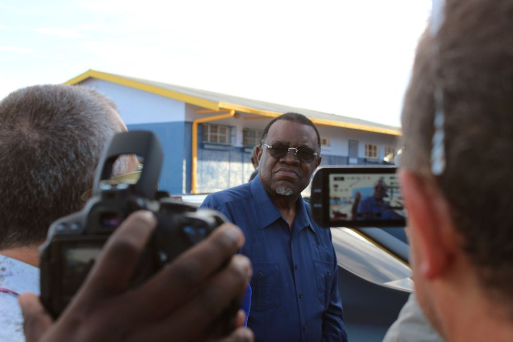 Namibian President Hage Geingob arrives to cast his vote in Windhoek, Namibia in the country's elections Wednesday, Nov. 27, 2019. Geingob's ruling party faces its biggest challenge since independence nearly three decades ago. The resource-rich southern African nation's registered 1.3 million voters are voting for president and National Assembly members. (AP Photo/Brandon van Wyk)