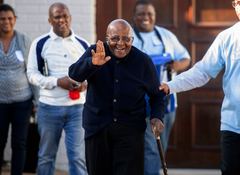 Anglican Archbishop Desmond Tutu exits his home after casting his special vote, near Cape Town, South Africa, Monday May 6, 2019. Tutu, 87, is in fragile health and took part in South Africa's special voting for the elderly and infirm where electoral officials go to their homes or care facilities before the actual voting day of May 8. (AP Photo)