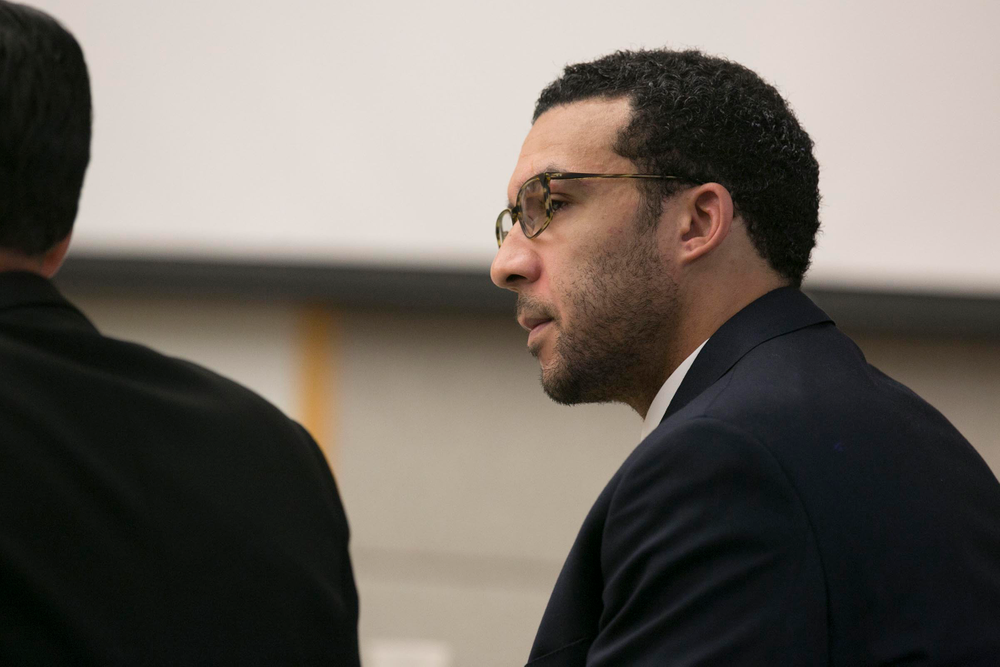 Former NFL football player Kellen Winslow Jr. looks at attorney Marc Carlos during his rape trial, Monday, May 20, 2019, in Vista, Calif. (John Gibbins/The San Diego Union-Tribune via AP, Pool)