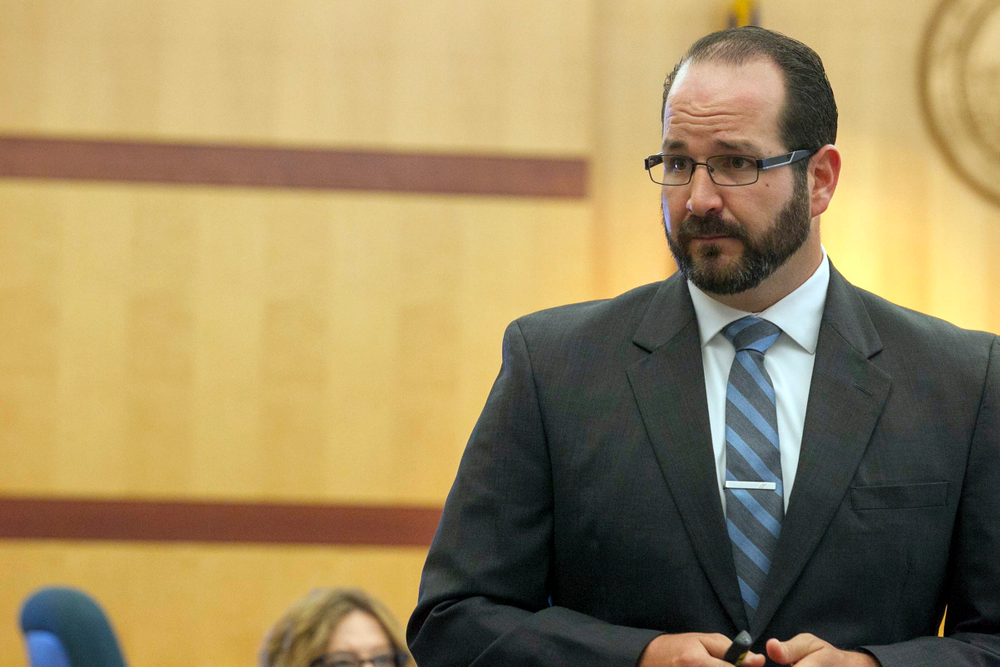 Deputy District Attorney Dan Owens gives his opening statement to the jury on the opening day of former NFL football player Kellen Winslow Jr.'s rape trial, Monday, May 20, 2019, in Vista, Calif. (John Gibbins/The San Diego Union-Tribune via AP, Pool)