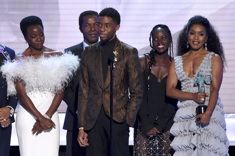 Danai Gurira, from left, Isaach de Bankole, Chadwick Boseman, Lupita Nyong'o and Angela Bassett from the cast of