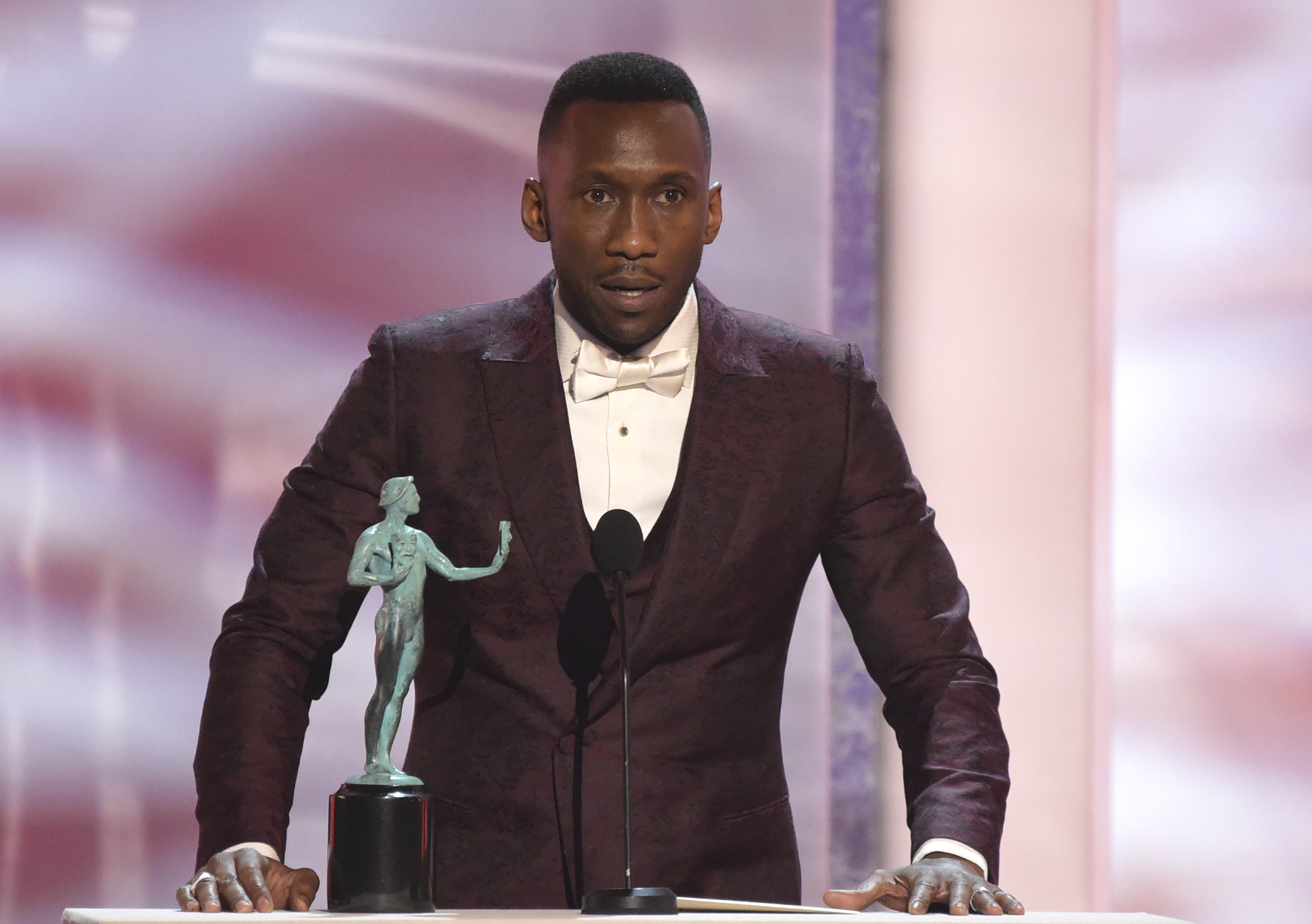 Mahershala Ali accepts the award for outstanding performance by a male actor in a supporting role for