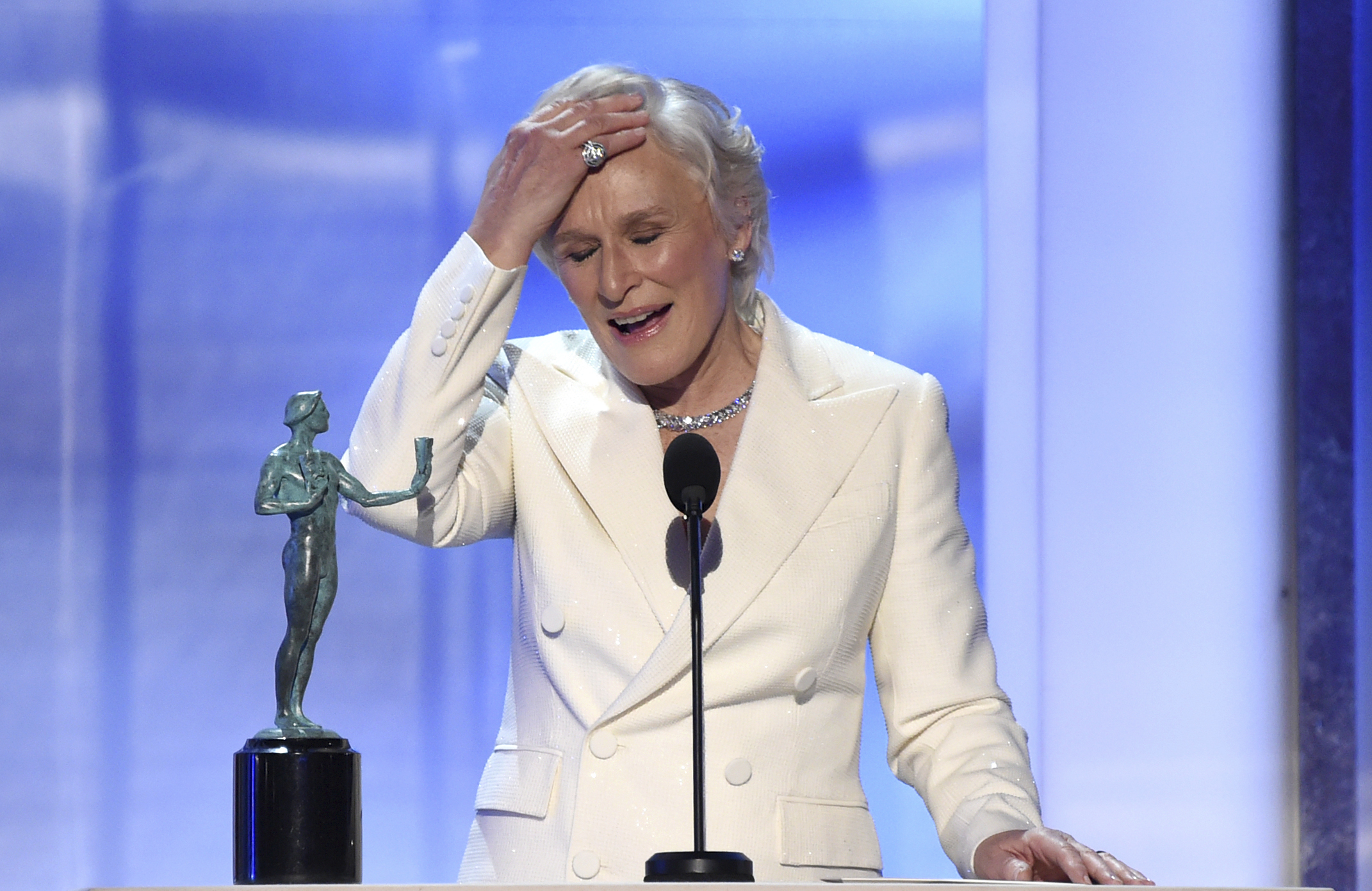 Glenn Close accepts the award for outstanding performance by a female actor in a leading role for