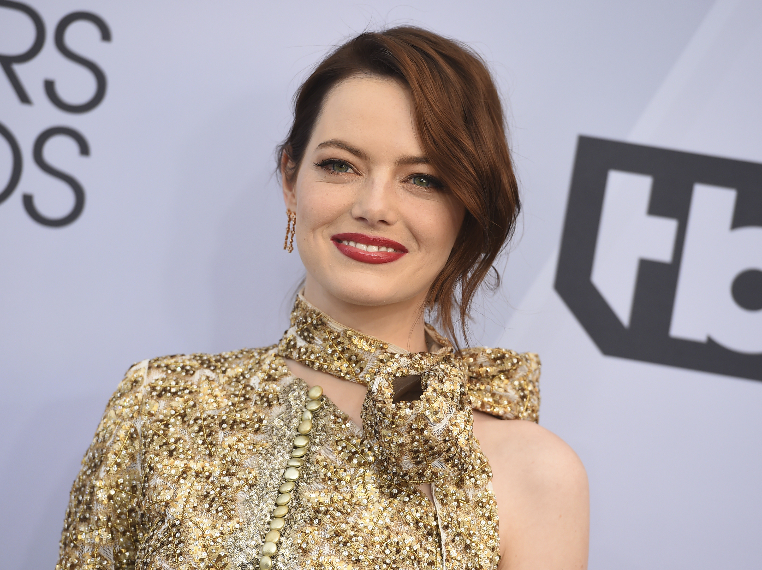 Emma Stone arrives at the 25th annual Screen Actors Guild Awards at the Shrine Auditorium & Expo Hall on Sunday, Jan. 27, 2019, in Los Angeles. (Photo by Jordan Strauss/Invision/AP)