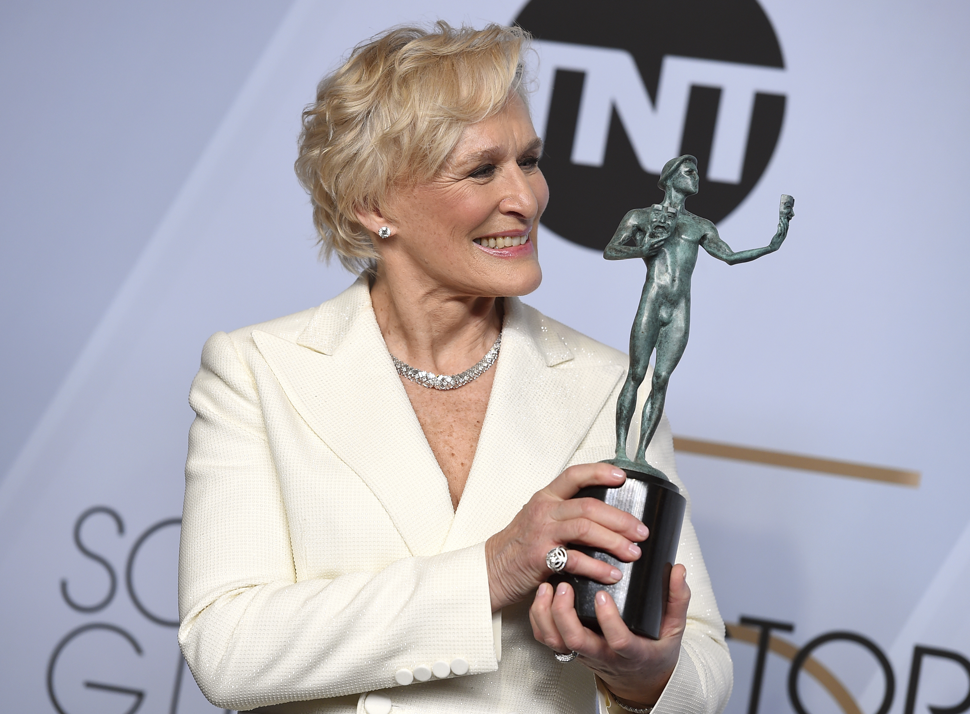 Glenn Close poses with the award for outstanding performance by a female actor in a leading role for