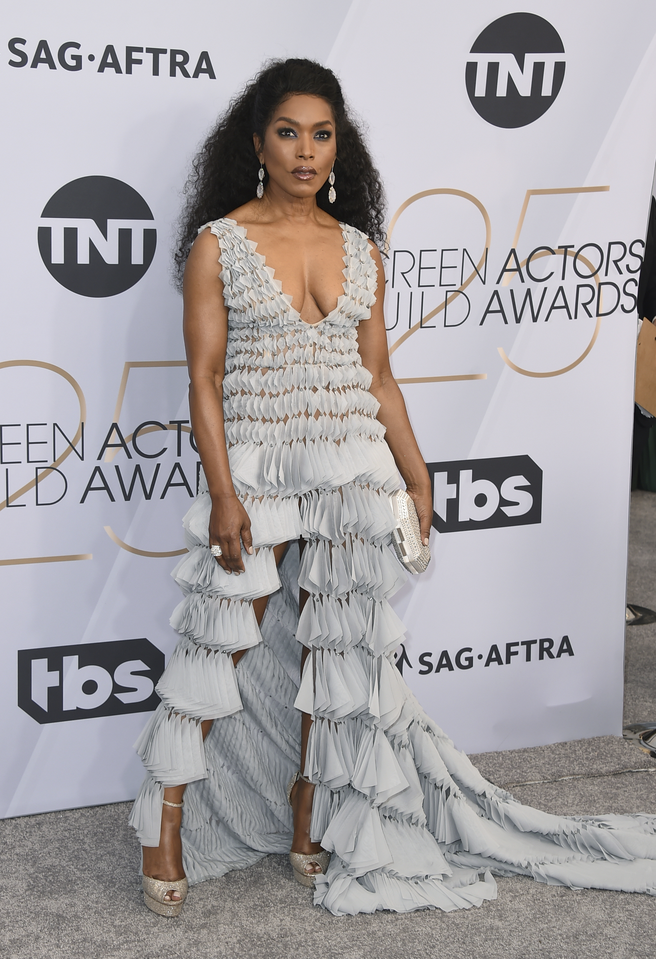 Angela Bassett arrives at the 25th annual Screen Actors Guild Awards at the Shrine Auditorium & Expo Hall on Sunday, Jan. 27, 2019, in Los Angeles. (Photo by Jordan Strauss/Invision/AP)