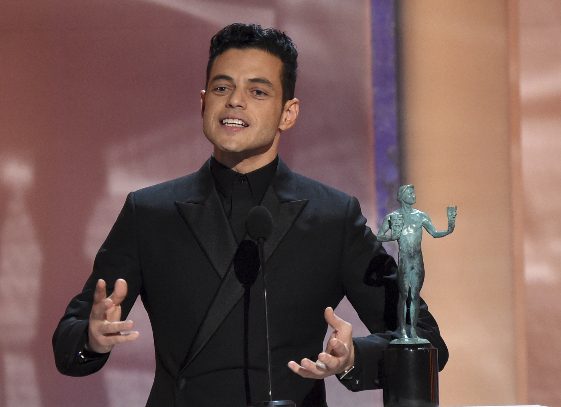Rami Malek accepts the award for outstanding performance by a male actor in a leading role for