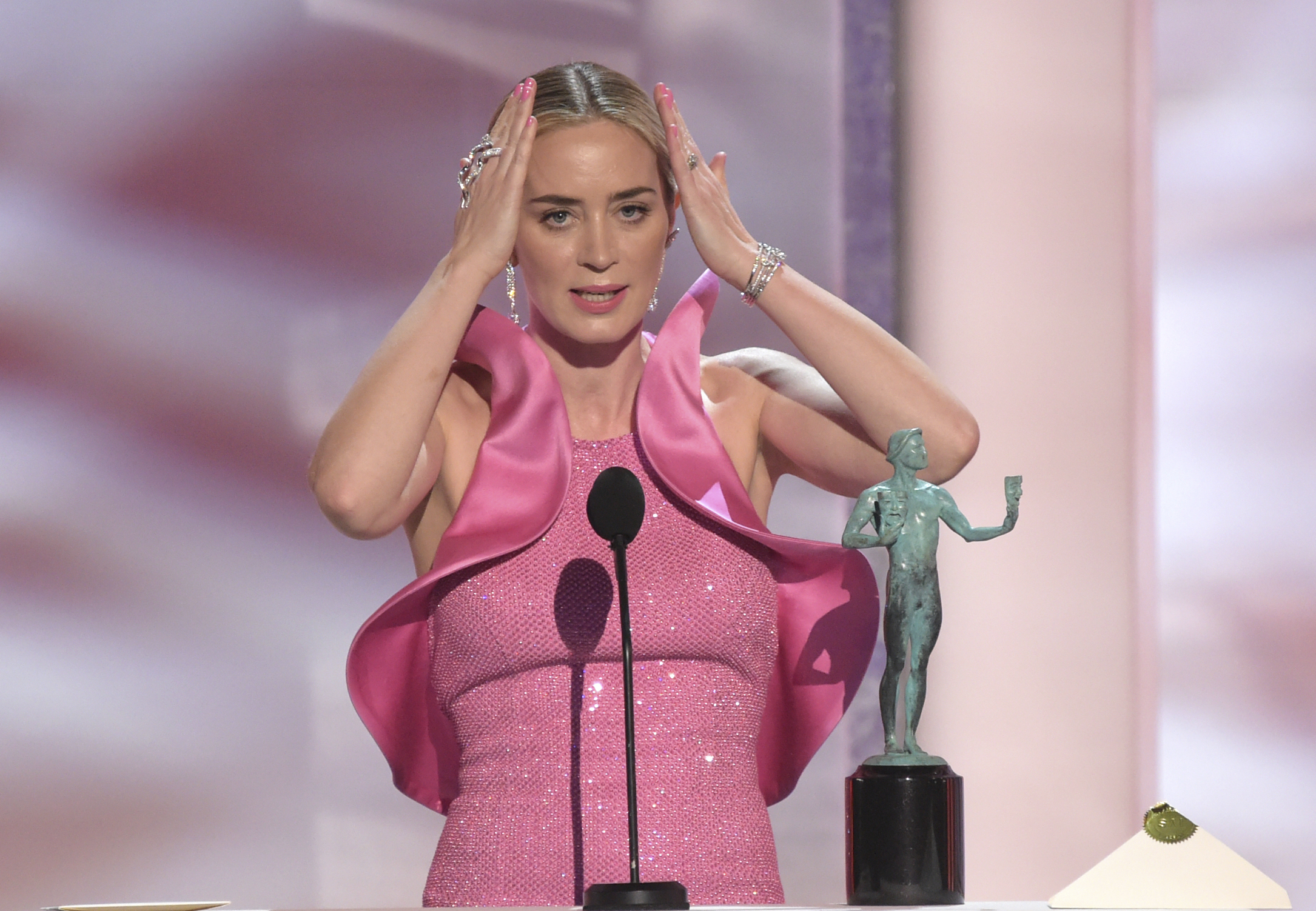 Emily Blunt accepts the award for outstanding performance by a female actor in a supporting role for