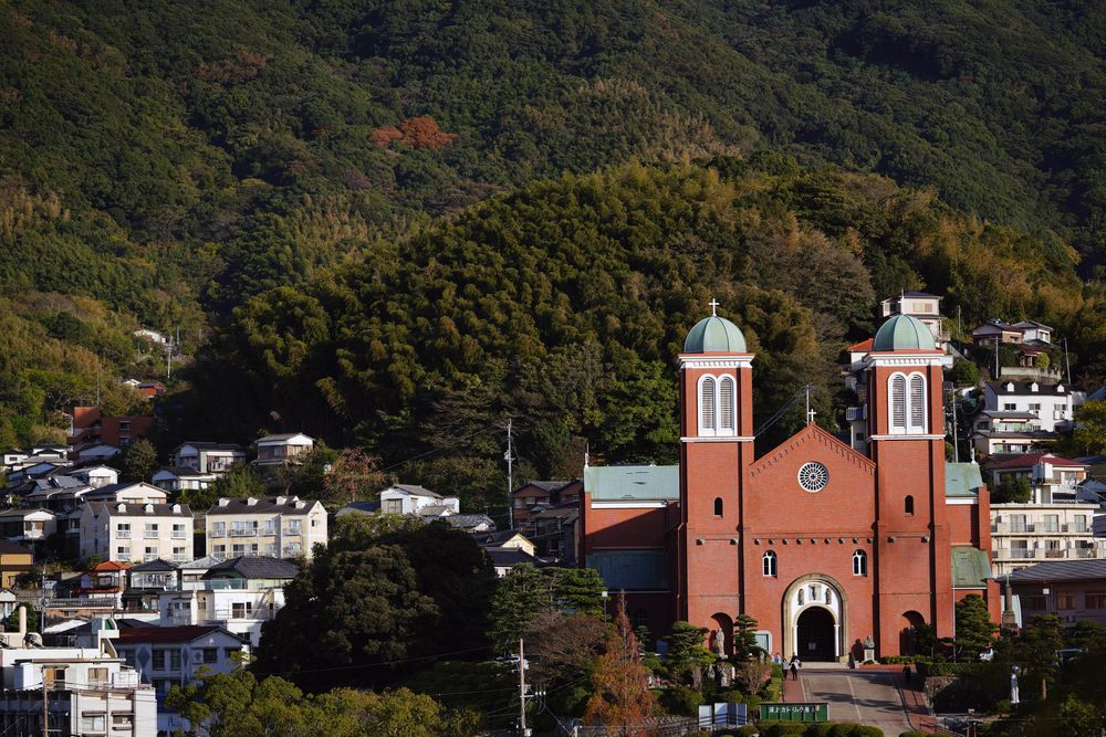 In this Nov. 16, 2019, photo, the Urakami Cathedral is seen in Nagasaki, southern Japan. Pope Francis will start his first official visit to Japan in Nagasaki, ground zero for the Christian experience in a nation where the Catholic leader once dreamed of living as a missionary. (AP Photo/Eugene Hoshiko)