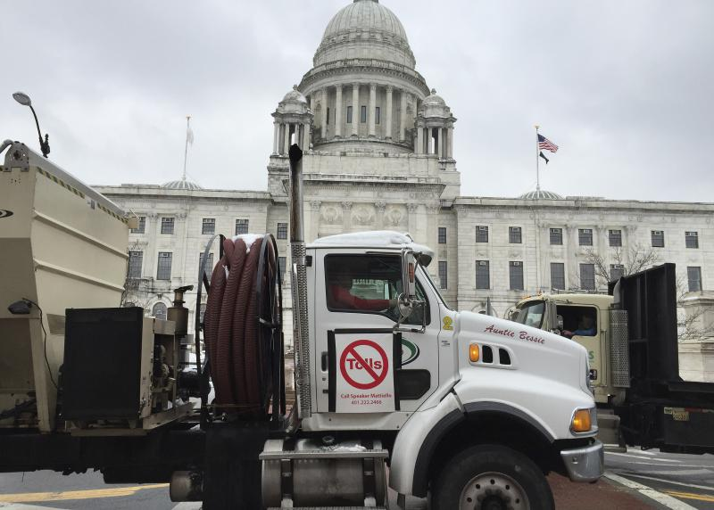 Truck drivers participate in a 2016 protest in Providence, R.I., against highway truck tolls.