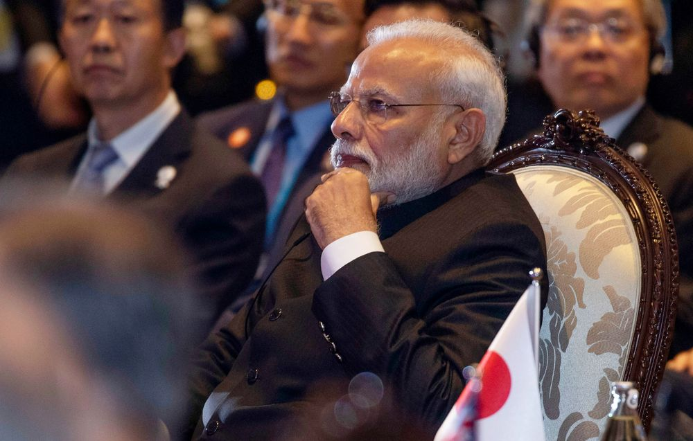 Indian Prime Minister Narendra Modi attends the East Asia Summit on the sidelines of the 35th Association of Southeast Asian Nations (ASEAN) summit in Nonthaburi, Thailand, Monday, Nov. 4, 2019. (AP Photo/Wason Wanichakorn)