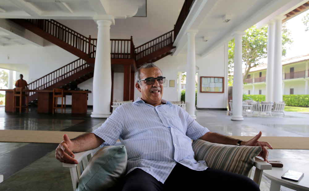 """In this Friday, May 10, 2019, photo, Jan Van Twest, the general manager of Fortress Resort and Spa, speaks to The Associated Press in Galle, Sri Lanka. """"In the past we have had about many serious crises and we have recovered. I am quite positive we can do it again,"""" Twest said. According to the government's tourism agency, the tourist arrival has shown a 80 percent decrease after the attack. (AP Photo/Eranga Jayawardena)"""
