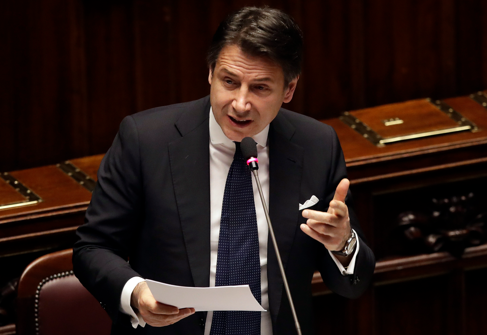 Italian Premier Giuseppe Conte addresses the Lower Chamber of the Italian parliament in Rome, Tuesday, March 19, 2019. (AP Photo/Alessandra Tarantino)