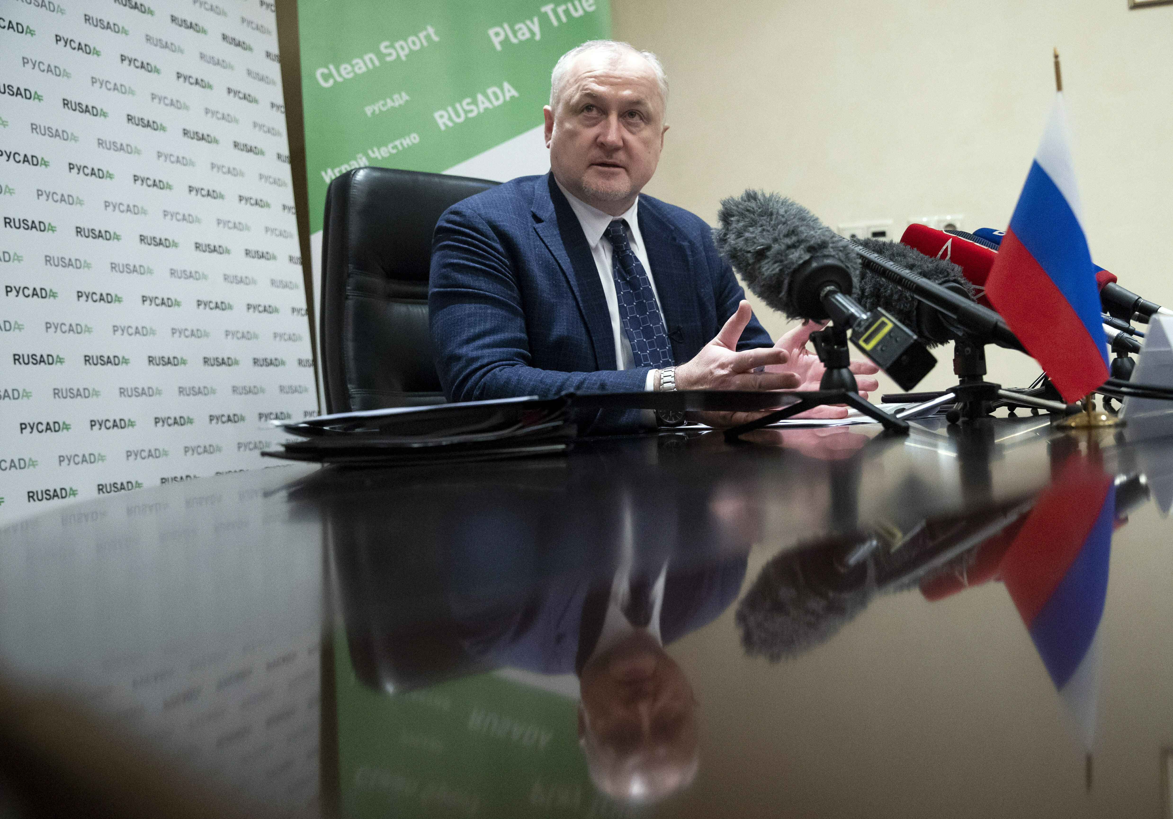 Russian National Anti-doping Agency RUSADA head Yuri Ganus speaks during a news conference in Moscow, Russia, Tuesday, Jan. 22, 2019.  World Anti-Doping Agency (WADA) forgave Russia on Tuesday for its tardiness in turning over lab data, but they are still analyzing what it says are vast amounts of data from lab servers and equipment, data which until recently was sealed off by Russian law enforcement. (AP Photo/Pavel Golovkin)