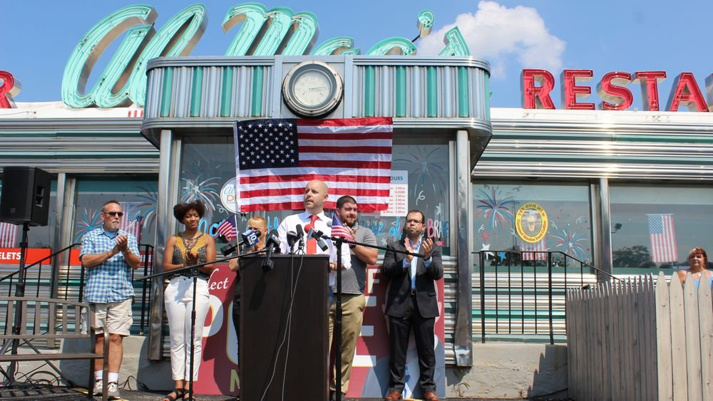 City Councilor Cliff Ponte announced his campaign in July outside the diner he owns.