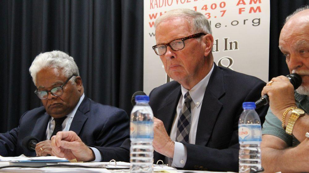 Mayor Paul Coogan prepares to speak at a debate in September.