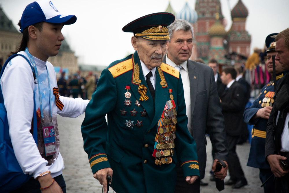 A Russian veteran WWII arrives to attend the Victory Day military parade to celebrate 74 years since the victory in WWII in Red Square in Moscow, Russia, Thursday, May 9, 2019. Putin told the annual military Victory Day parade in Red Square that the country will continue to strengthen its armed forces. (AP Photo/Alexander Zemlianichenko)