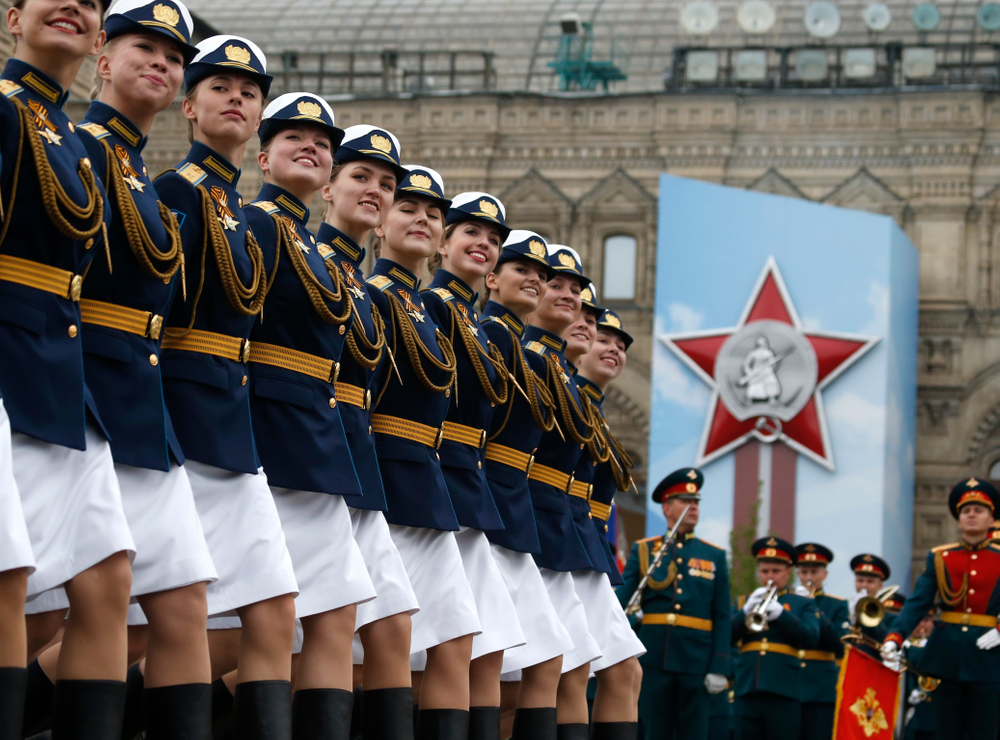 Russian troops march during the Victory Day military parade to celebrate 74 years since the victory in WWII in Red Square in Moscow, Russia, Thursday, May 9, 2019. (AP Photo/Alexander Zemlianichenko)