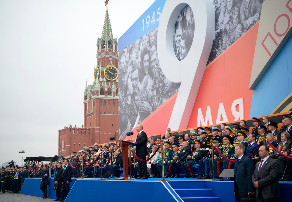 Russian President Vladimir Putin speaks during the Victory Day military parade marking 74 years since the victory in WWII in Red Square in Moscow, Russia, Thursday, May 9, 2019. (Alexei Nikolsky, Sputnik, Kremlin Pool Photo via AP)