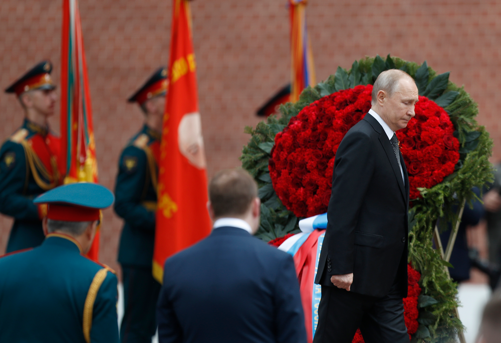 Russian President Vladimir Putin attends a wreath-laying ceremony at the Tomb of the Unknown Soldier after the military parade marking 74 years since the victory in WWII in Moscow, Russia, Thursday, May 9, 2019. (AP Photo/Pavel Golovkin)