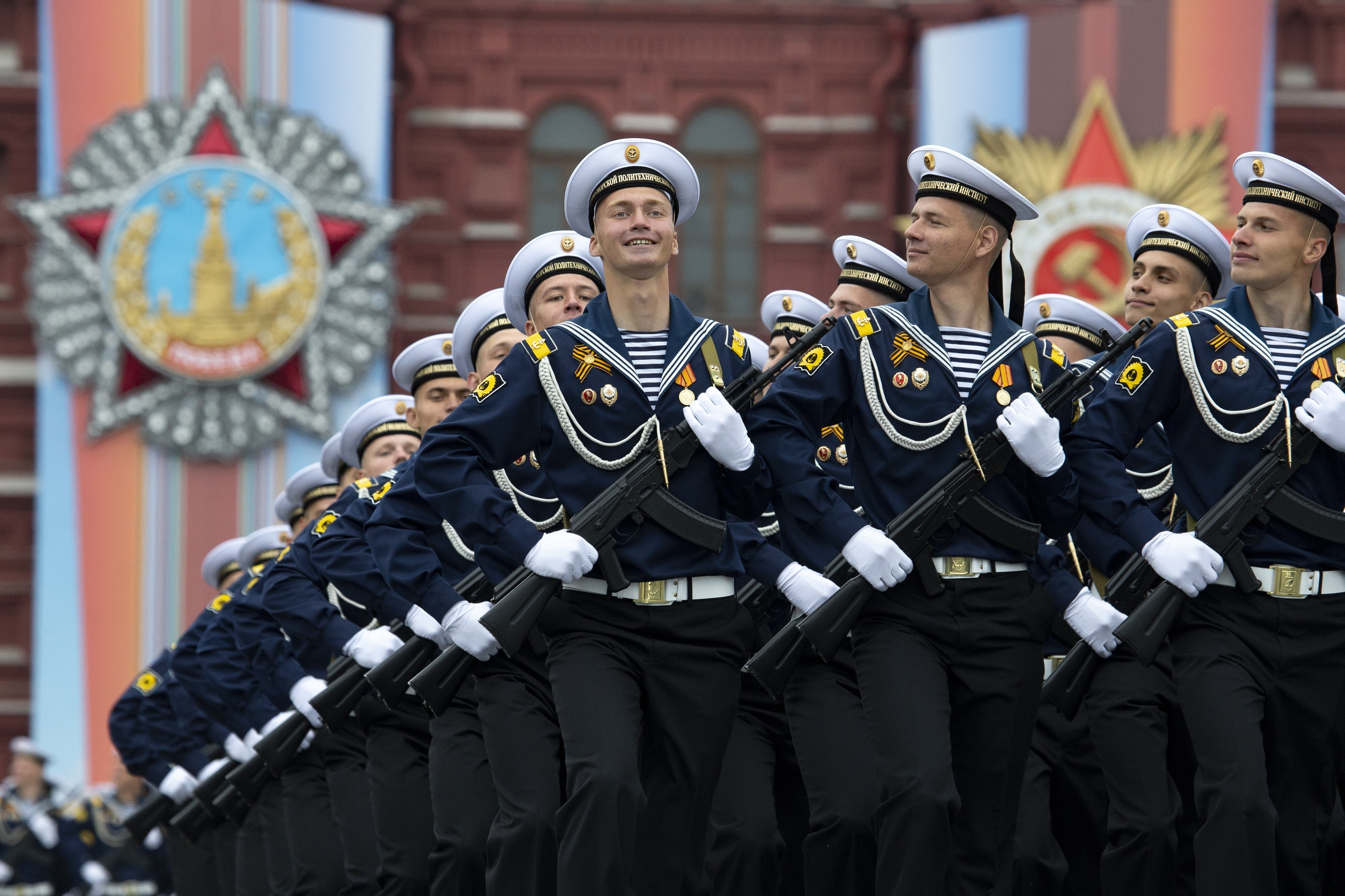 Russian troops march during the Victory Day military parade to celebrate 74 years since the victory in WWII in Red Square in Moscow, Russia, Thursday, May 9, 2019. (Putin has told the annual military Victory Day parade in Red Square that the country will continue to strengthen its armed forces. AP Photo/Alexander Zemlianichenko)