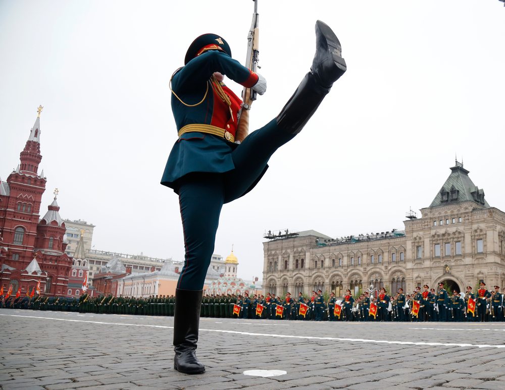 A honour guard takes position during the Victory Day military parade to celebrate 74 years since the victory in WWII in Red Square in Moscow, Russia, Thursday, May 9, 2019. (AP Photo/Alexander Zemlianichenko)