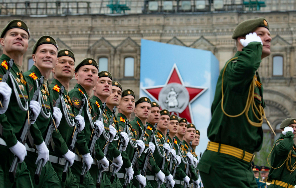 Russian troops march during the Victory Day military parade to celebrate 74 years since the victory in WWII in Red Square in Moscow, Russia, Thursday, May 9, 2019. Putin has told the annual military Victory Day parade in Red Square that the country will continue to strengthen its armed forces.(AP Photo/Alexander Zemlianichenko)