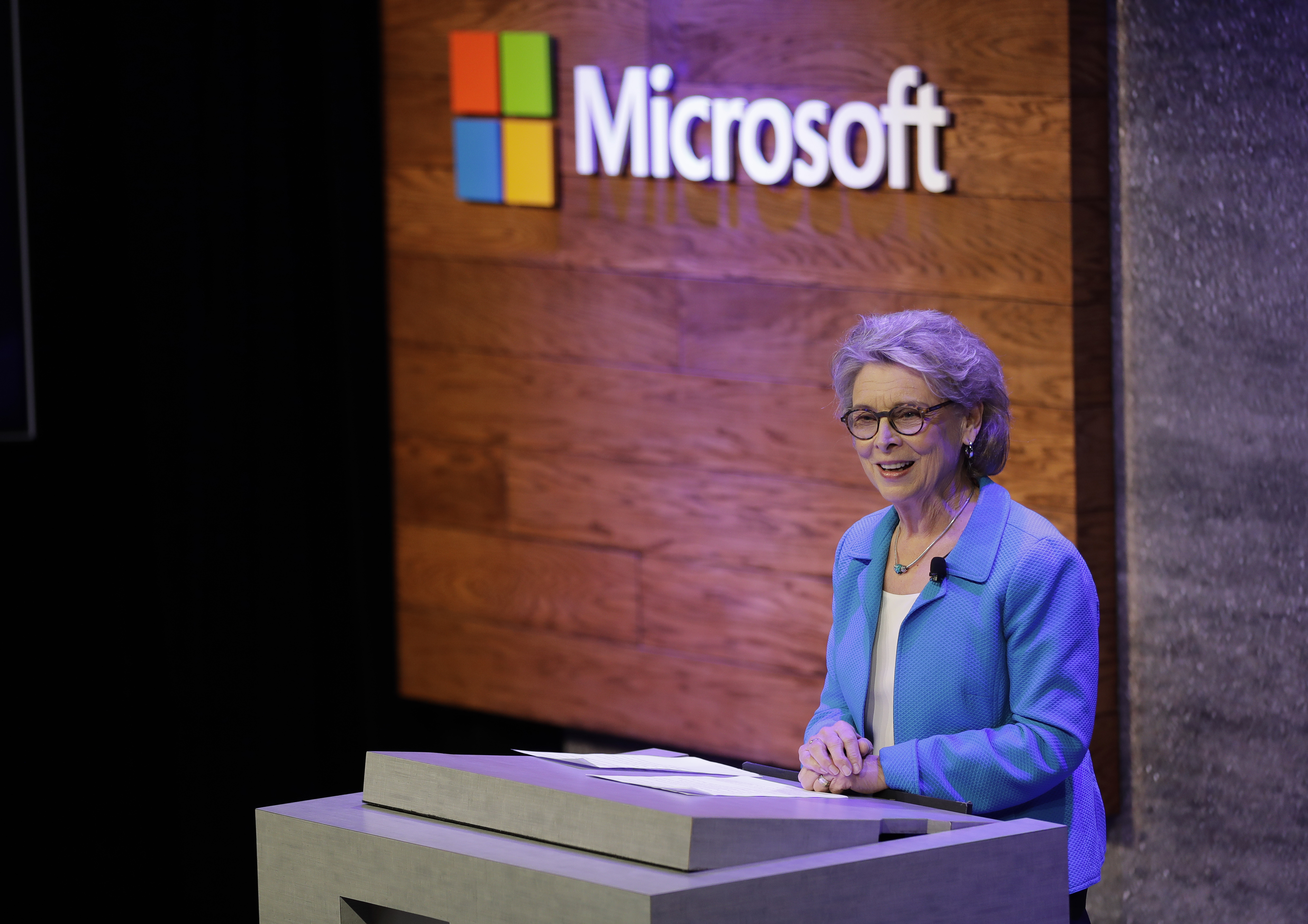 Former Washington Gov. Christine Gregoire, CEO of the Challenge Seattle organization, speaks Thursday, Jan. 17, 2019, during a news conference in Bellevue, Wash., to announce a $500 million pledge by Microsoft Corp. to develop affordable housing for low- and middle-income workers in response to the Seattle region's widening affordability gap and to also to address homelessness. (AP Photo/Ted S. Warren)