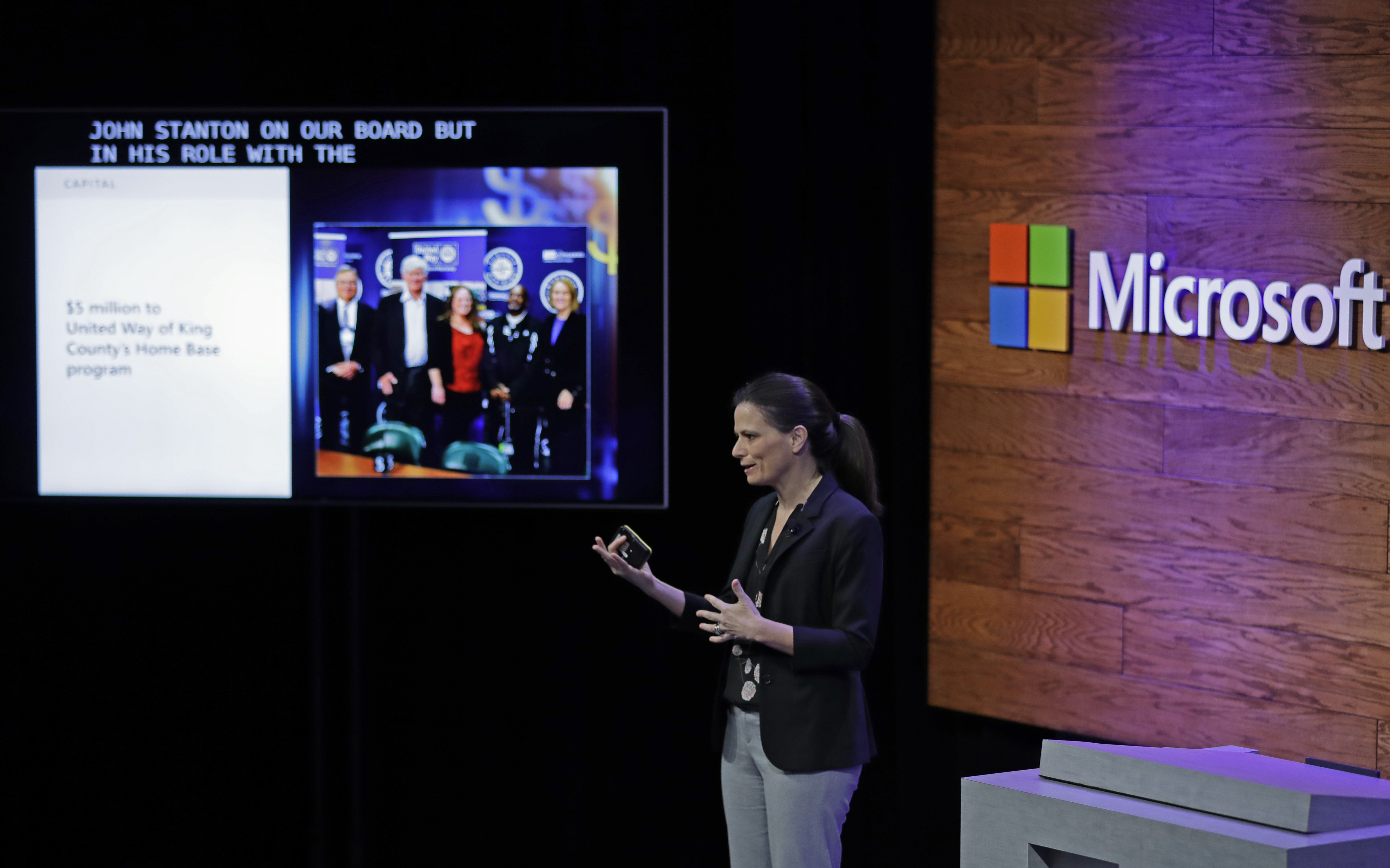 Microsoft Corp. CFO Amy Hood speaks Thursday, Jan. 17, 2019, during a news conference in Bellevue, Wash., to announce a $500 million pledge by Microsoft to develop affordable housing for low- and middle-income workers in response to the Seattle region's widening affordability gap and to also to address homelessness. (AP Photo/Ted S. Warren)
