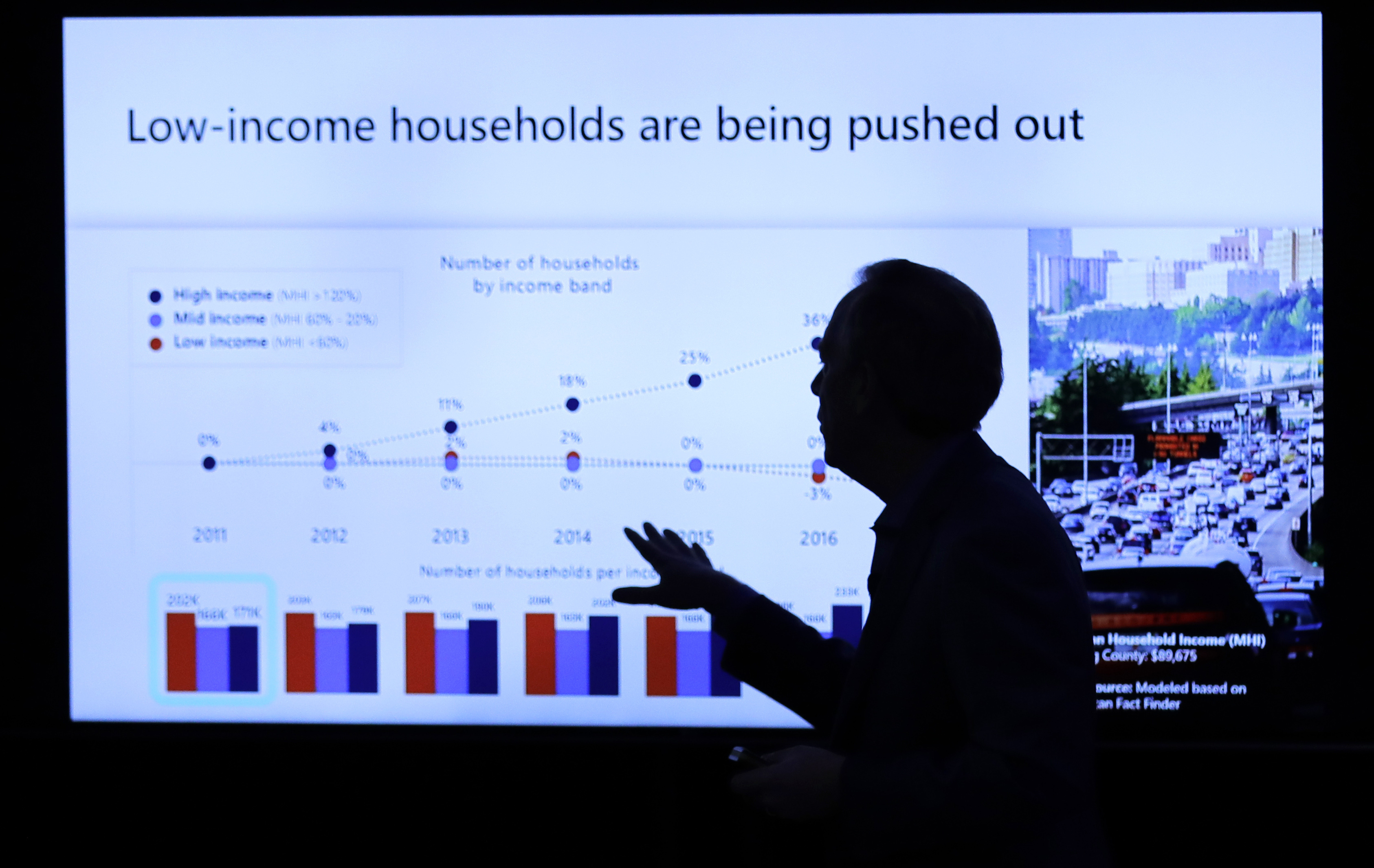 Microsoft Corp. President Brad Smith speaks Thursday, Jan. 17, 2019, during a news conference in Bellevue, Wash., to announce a $500 million pledge by Microsoft to develop affordable housing for low- and middle-income workers in response to the Seattle region's widening affordability gap and to also to address homelessness. (AP Photo/Ted S. Warren)