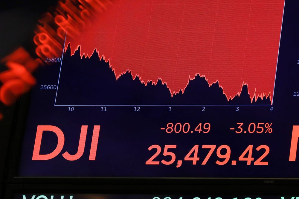 A board above the trading floor of the New York Stock Exchange shows the closing number for the Dow Jones industrial average, Wednesday, Aug. 14, 2019. The DJIA sank 800 points after the bond market flashed a warning sign about a possible recession for the first time since 2007. (AP Photo/Richard Drew)