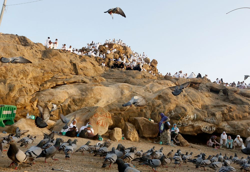 Pigeons fly as Muslim pilgrims pray on a rocky hill known as Mountain of Mercy, on the Plain of Arafat, during the annual hajj pilgrimage, near the holy city of Mecca, Saudi Arabia, Saturday, Aug. 10, 2019. More than 2 million pilgrims were gathered to perform initial rites of the hajj, an Islamic pilgrimage that takes the faithful along a path traversed by the Prophet Muhammad some 1,400 years ago. (AP Photo/Amr Nabil)