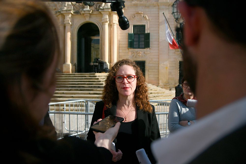 EU special enjoy Sophia in 't Veld is seen talking to the press outside Castille, in Valletta, Malta, Tuesday, Dec. 3, 2019, after a short meeting with the Prime Minister of Malta Joseph Muscat after an investigation into the murder of leading investigative journalist Daphne Caruana Galizia implicated Prime Minister Joseph Muscat's chief of staff. Sophia in 't Veld said outside the prime minister's office that