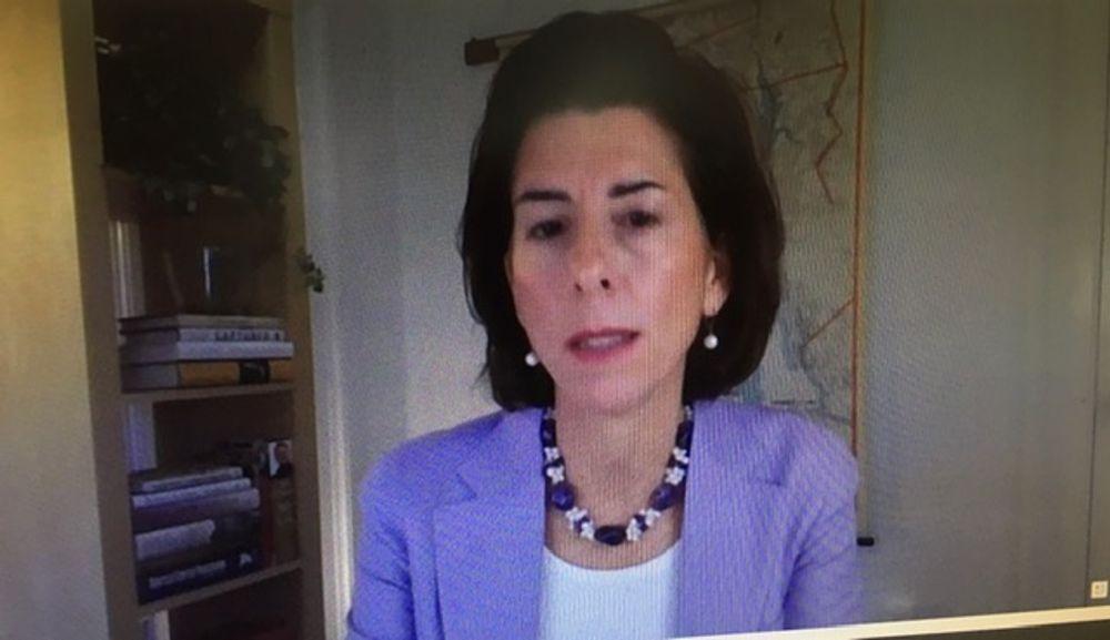 Raimondo offering remote testimony to the U.S. Senate's Commerce Committee