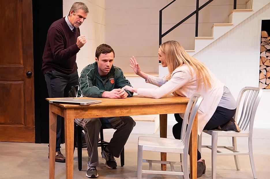 Jim O'Brien as Bill Mason, Jacob Osborne as Charlie Mason, Deb Martin as Sherri Rosen-Mason, in The Gamm Theatre's production of