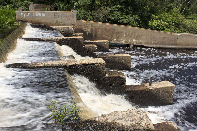 The dam and fish ladder on the Indian Head River, on the border of Pembroke and Hanson in Massachusetts.