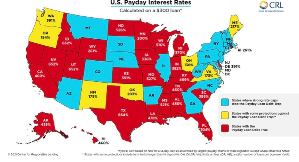 This map from the Center for Responsible Lending shows how RI remains an outlier.