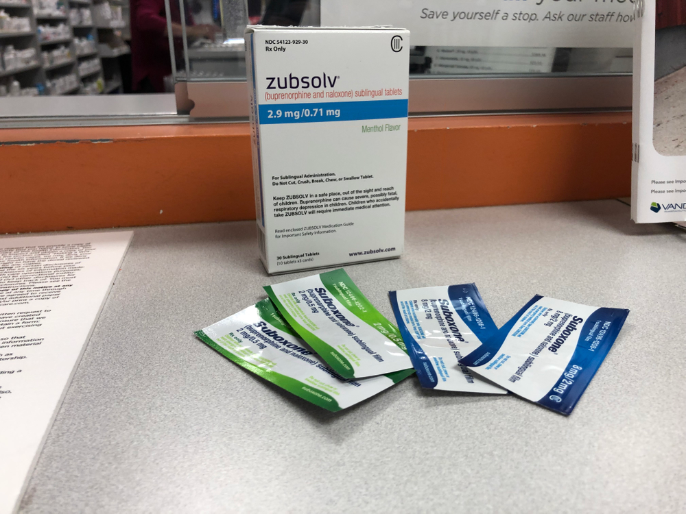 The opioid treatment medication suboxone. The packets contain strips that dissolve in the mouth.