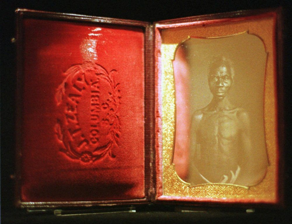 An 1850 daguerreotype of a slave named Renty, among the first photos taken by naturalist Louis Agassiz, is displayed in 1997 at San Francisco's Museum of Modern Art.