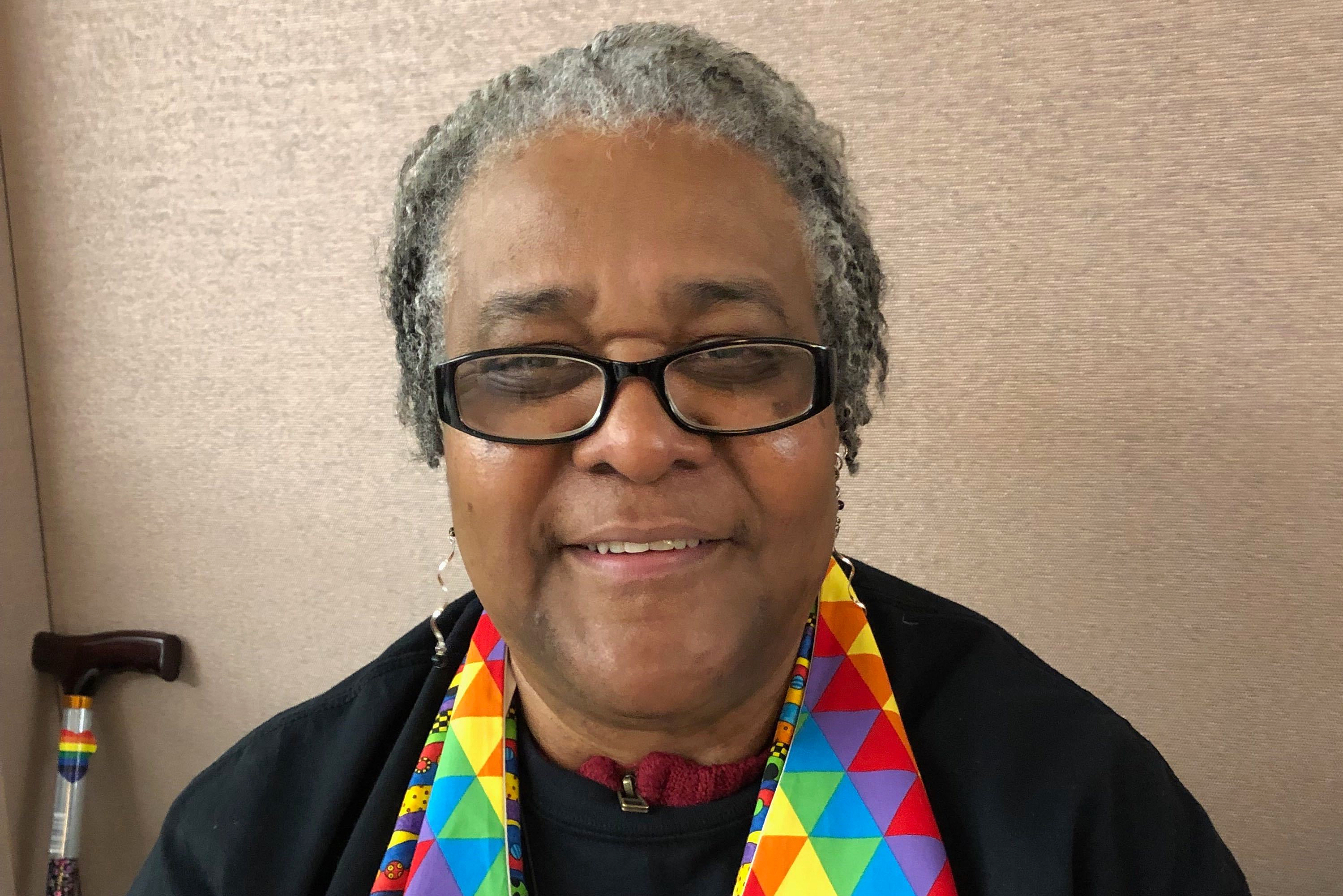 Althea Spencer Miller, 63, assistant professor of New Testament at Drew University Theological School in New Jersey, and a pastor, poses for picture Monday, Feb. 25, 2019 at a national Methodist conference in St. Louis. Miller, who identifies as lesbian, said the United Methodist Church has an opportunity to show that