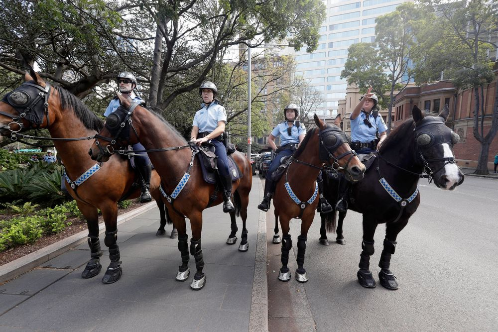 Mounted police block a path as thousands of protestors, many of them school students, attempt to march on the streets in Sydney, Friday, Sept. 20, 2019, calling for action to guard against climate change. Australia's acting prime minister Michael McCormack has described ongoing climate rallies as