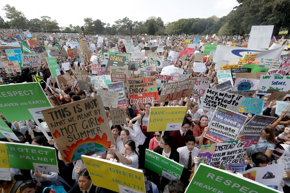 Thousands of protestors, many of them school students, gather in Sydney, Friday, Sept. 20, 2019, calling for action to guard against climate change. Australia's acting Prime Minister Michael McCormack has described ongoing climate rallies as