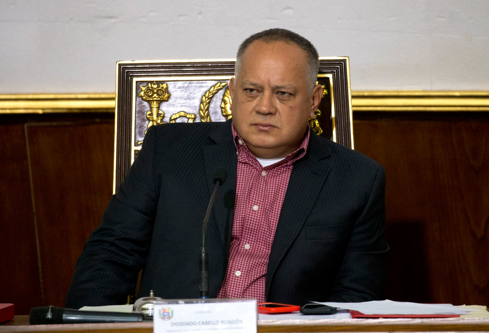 FILE - In this April 2, 2019 file photo, Diosdado Cabello, Venezuela's socialist party boss and president of the National Constituent Assembly attends a session in Caracas, Venezuela. Cuban Foreign Minister Bruno Rodríguez said Friday, June 7, that he met with Cabello, who took an unannounced trip to the island. Cabello arrived in Cuba a day prior for what local media called discussions about the left-wing Sao Paulo forum in Caracas next month. (AP Photo/Ariana Cubillos, File)