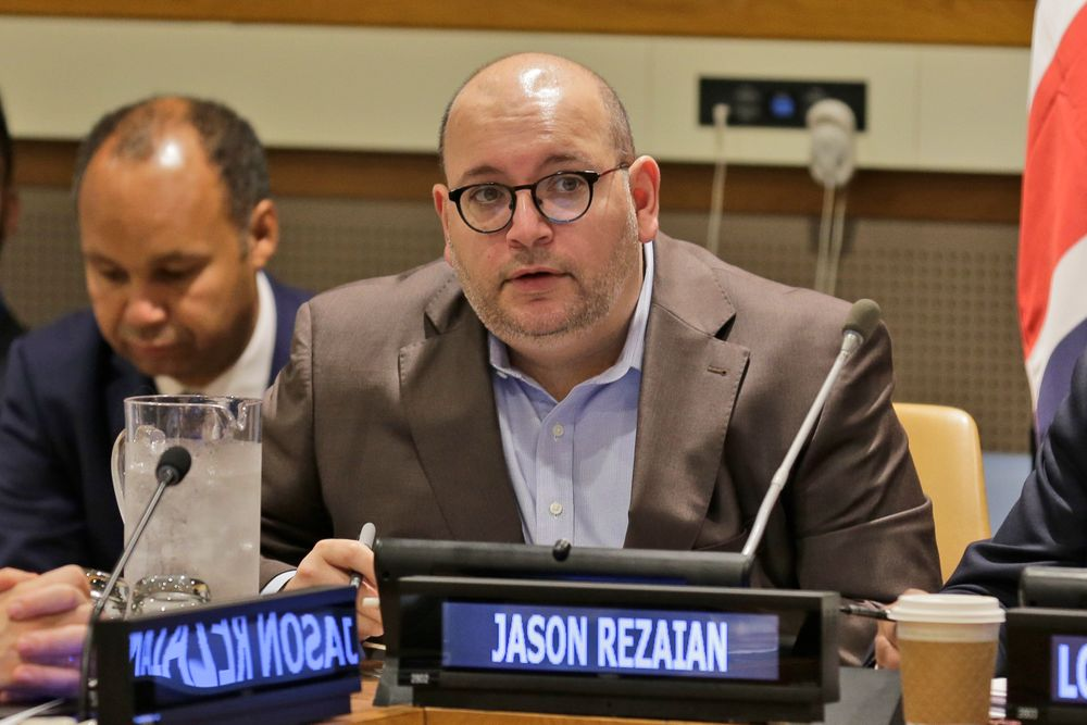 FILE - In this Sept. 25, 2019, file photo, Washington Post journalist Jason Rezaian participates in a panel discussion on media freedom at United Nations headquarters. A U.S. federal judge on Friday, Nov. 22, 2019, awarded Rezaian and his family nearly $180 million in their lawsuit against Iran over his captivity and torture while being held on internationally criticized espionage charges. (AP Photo/Seth Wenig, File)