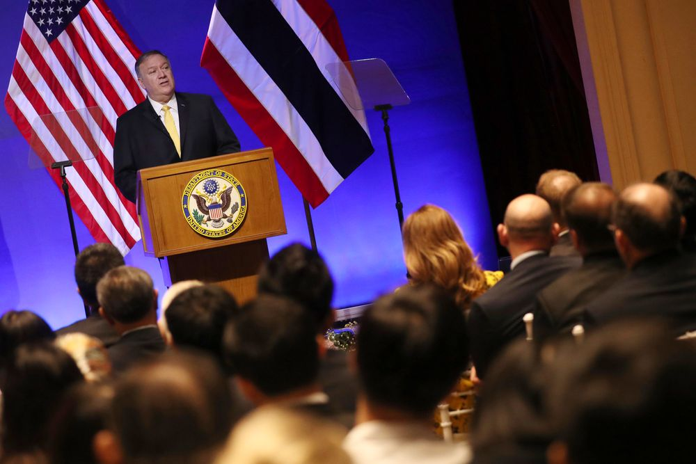 U.S. Secretary of State Mike Pompeo delivers a speech at Siam Society in Bangkok, Thailand Friday, Aug. 2, 2019 on the sidelines of the Association of Southeast Asian Nations (ASEAN) ministerial meetings. (Jonathan Ernst/Pool Photo via AP)