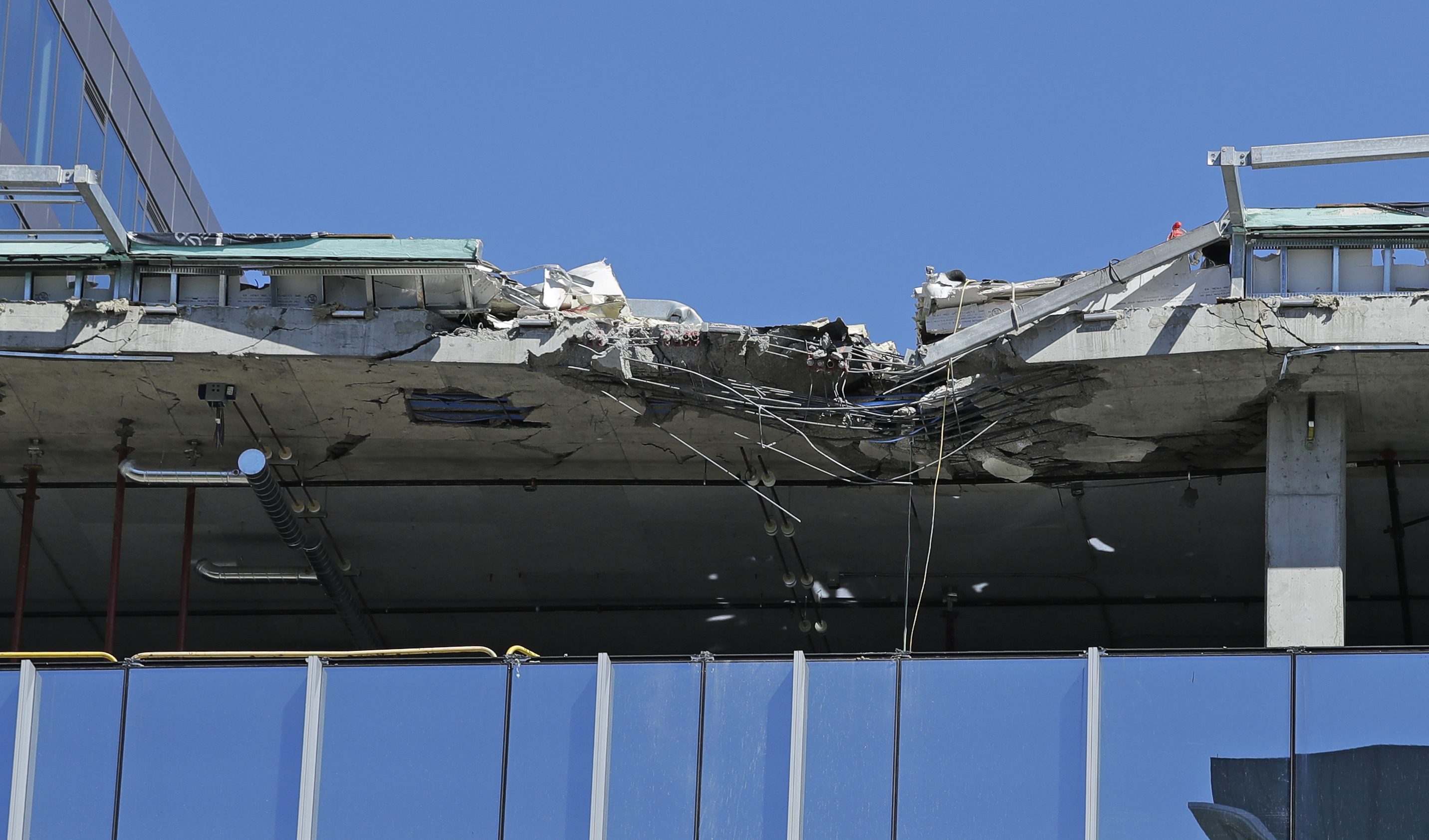 Damage to a building that was under construction when a crane collapsed on it Saturday in Seattle is shown, Monday, April 29, 2019, in Seattle. The accident killed four people. (AP Photo/Ted S. Warren)