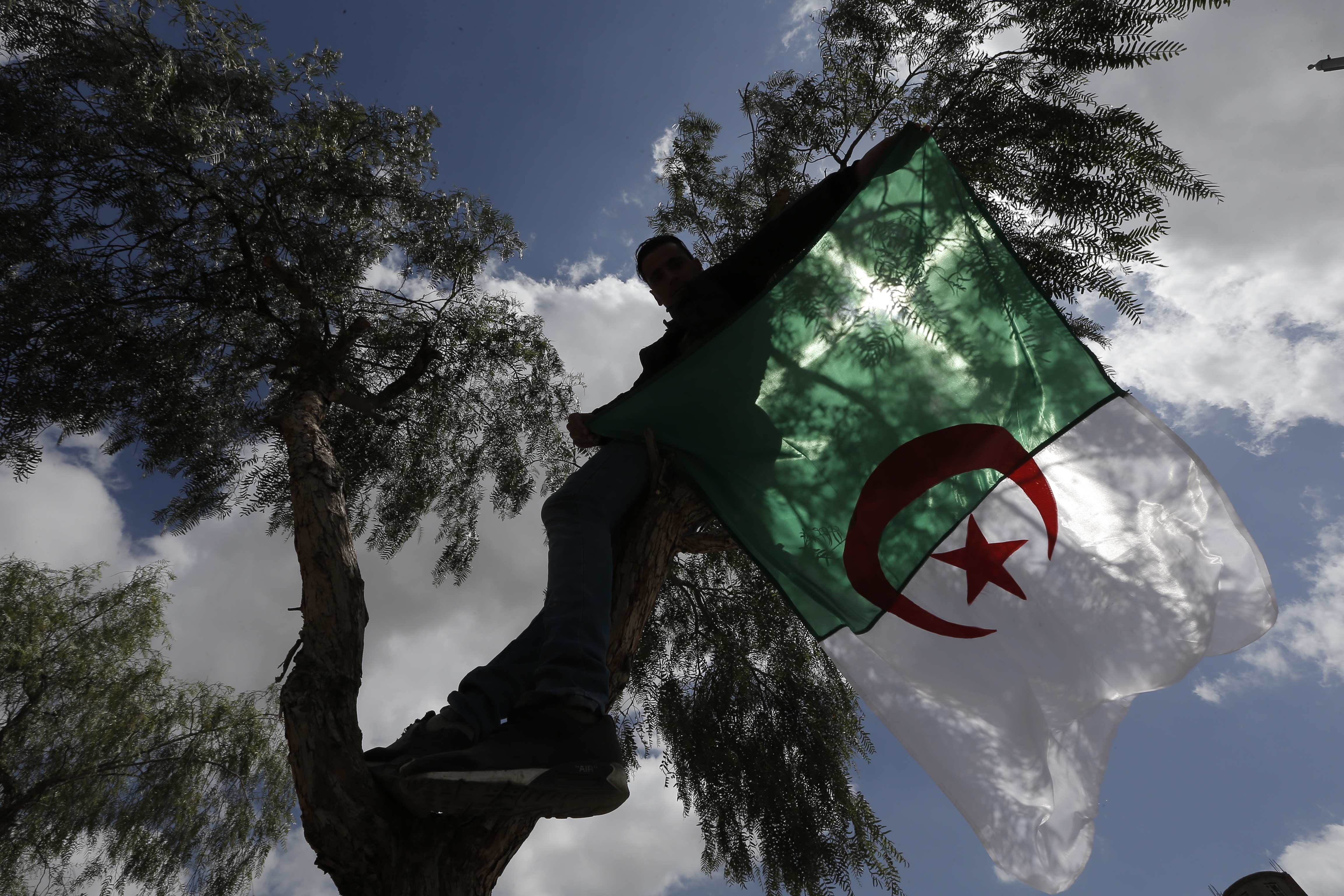 A demonstrator holds an Algerian flag during a protest in Bordj Bou Arreridj, east of Algiers, Friday, April 26, 2019. Algerians are massing for a 10th week of protests against their country's ruling class, calling for the ex-president's brother to be put on trial. (AP Photo/Toufik Doudou)
