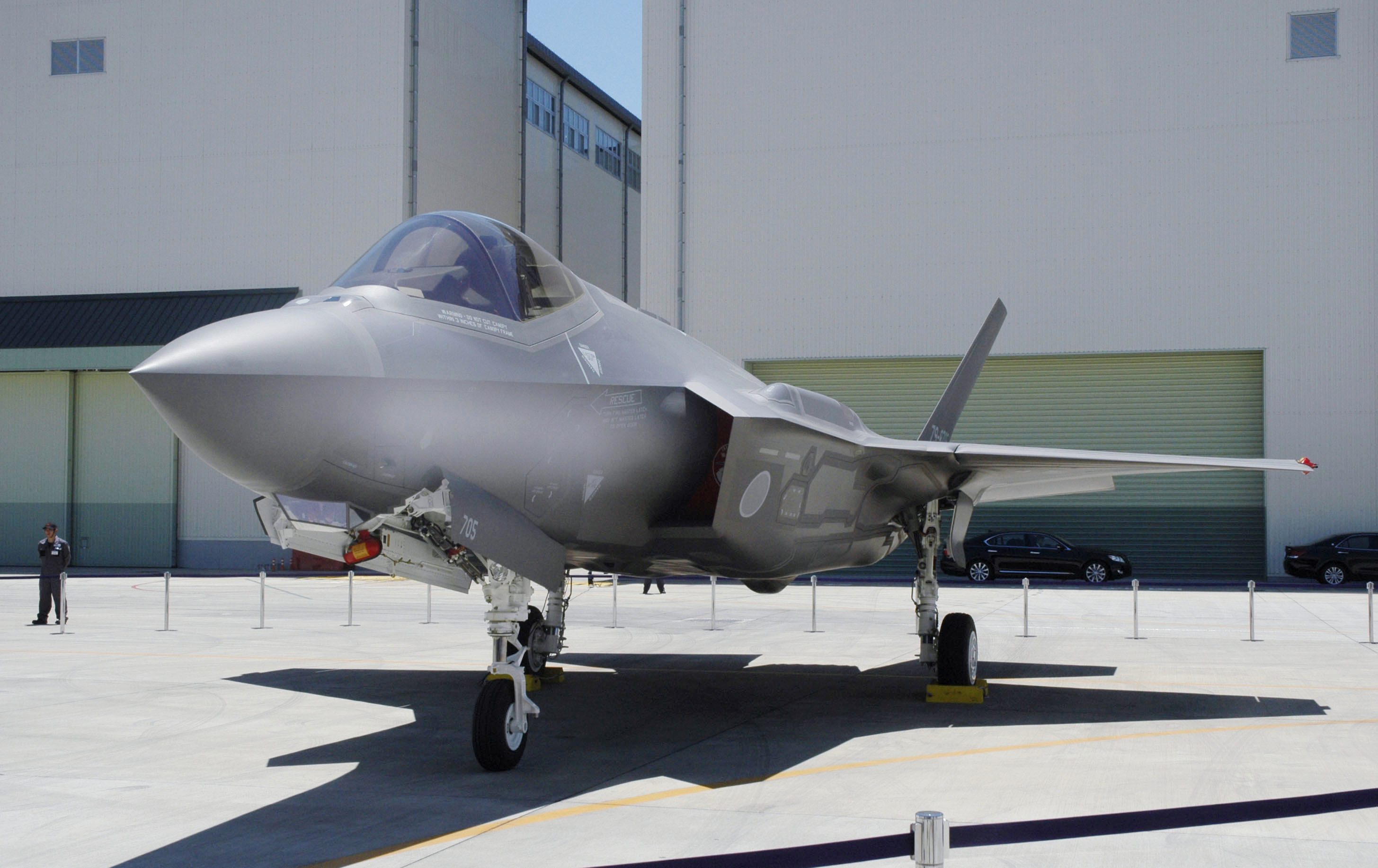This June, 2017, photo shows Japan Air Self-Defense Force's F-35A stealth jet at a factory of Mitsubishi Heavy Industries, in Toyoyama, central Japan. A search was underway for the Japanese fighter jet Tuesday, April 9, 2019, after it disappeared from radar during a flight exercise in northern Japan, defense officials said. The F-35A stealth jet, seen in the photo,  went missing while flying off the eastern coast of Aomori, the Air Self-Defense Force said.(Kyodo News via AP)