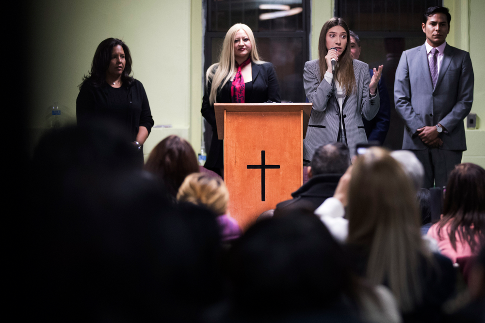 Fabiana Rosales, second from right, wife of Venezuelan opposition leader Juan Guaido, speaks to members of the Venezuelan community in New York after attending Mass at St. Teresa's Church on the Lower East Side of Manhattan, Tuesday, March 26, 2019. Rosales is emerging as a prominent figure in Guaido's campaign to bring change in the crisis-wracked country. (AP Photo/Mary Altaffer)